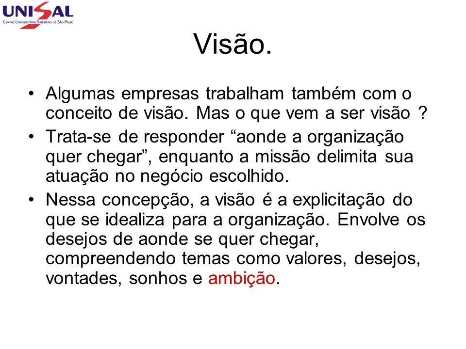 Visão. Algumas empresas trabalham também com o conceito de visão. Mas o que vem a ser visão ? Trata-se de responder aonde a organização quer chegar, e