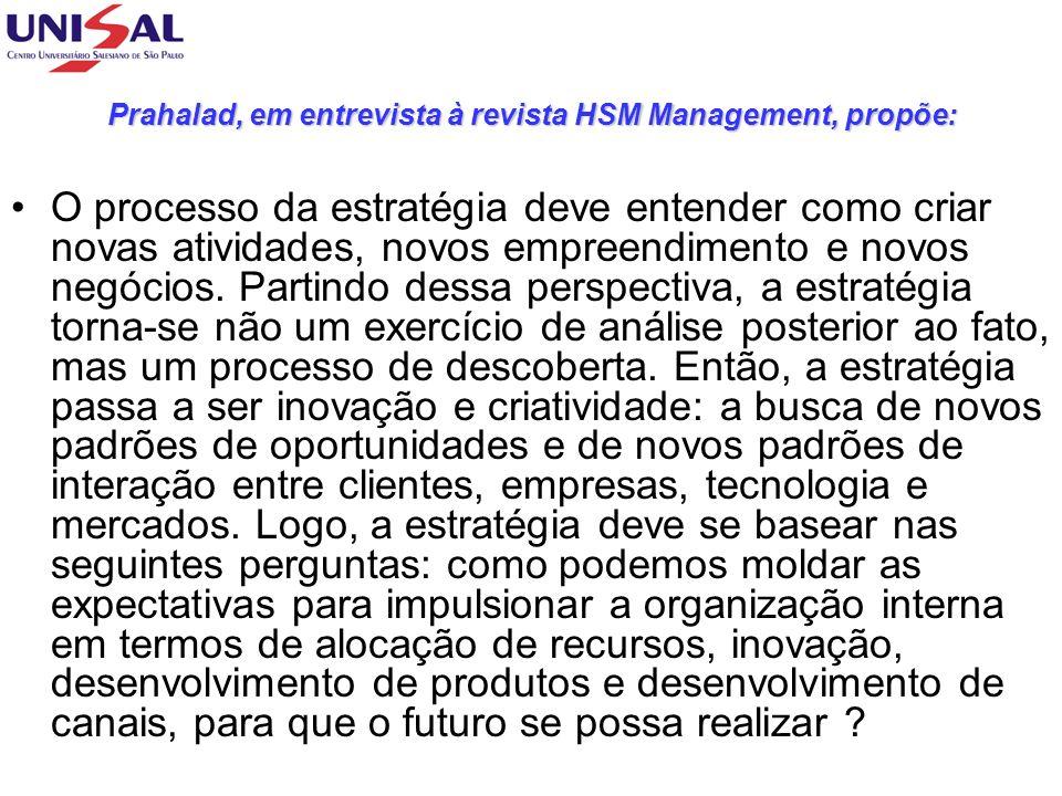 Prahalad, em entrevista à revista HSM Management, propõe: O processo da estratégia deve entender como criar novas atividades, novos empreendimento e n