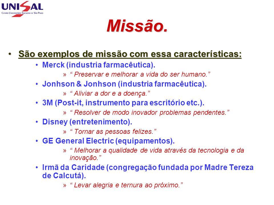 Missão. São exemplos de missão com essa características:São exemplos de missão com essa características: Merck (industria farmacêutica). » Preservar e