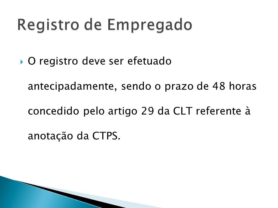 O registro deve ser efetuado antecipadamente, sendo o prazo de 48 horas concedido pelo artigo 29 da CLT referente à anotação da CTPS.