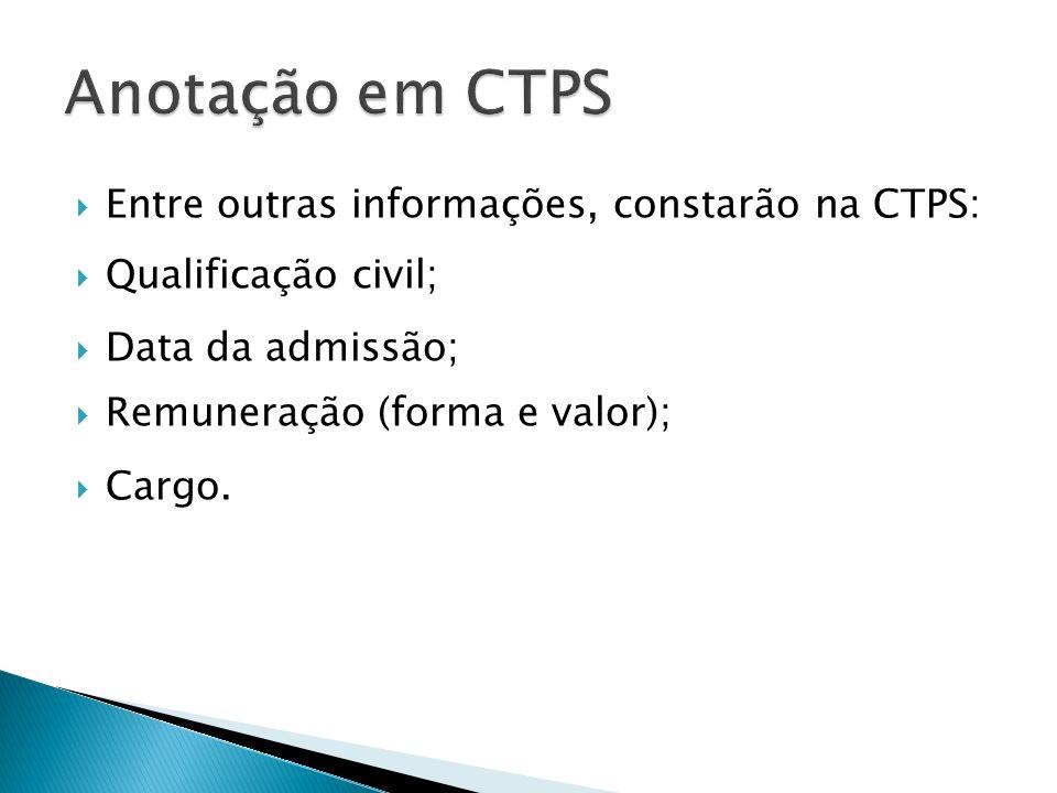 Entre outras informações, constarão na CTPS: Qualificação civil; Data da admissão; Remuneração (forma e valor); Cargo.