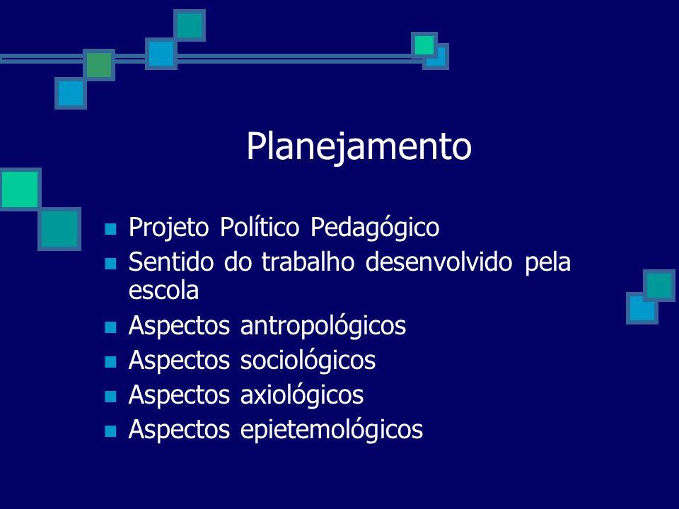 Planejamento Projeto Político Pedagógico Sentido do trabalho desenvolvido pela escola Aspectos antropológicos Aspectos sociológicos Aspectos axiológic