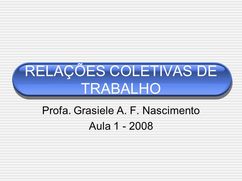 RELAÇÕES COLETIVAS DE TRABALHO Profa. Grasiele A. F. Nascimento Aula 1 - 2008