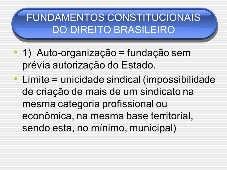 FUNDAMENTOS CONSTITUCIONAIS DO DIREITO BRASILEIRO 1) Auto-organização = fundação sem prévia autorização do Estado. Limite = unicidade sindical (imposs