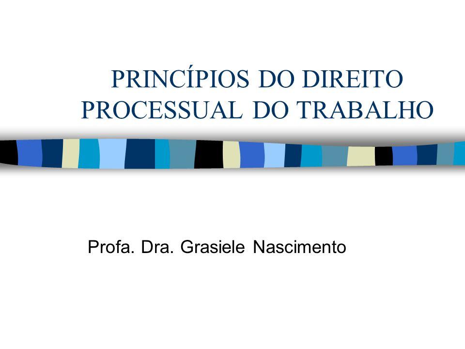 PRINCÍPIOS DO DIREITO PROCESSUAL DO TRABALHO Profa. Dra. Grasiele Nascimento