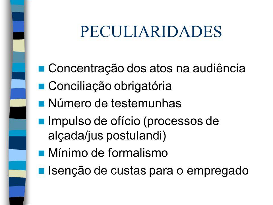 PECULIARIDADES Concentração dos atos na audiência Conciliação obrigatória Número de testemunhas Impulso de ofício (processos de alçada/jus postulandi)