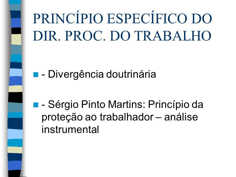 - Divergência doutrinária - Sérgio Pinto Martins: Princípio da proteção ao trabalhador – análise instrumental PRINCÍPIO ESPECÍFICO DO DIR. PROC. DO TR