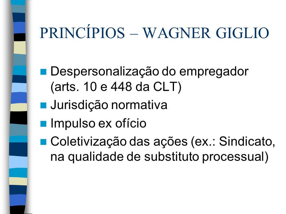 PRINCÍPIOS – WAGNER GIGLIO Despersonalização do empregador (arts. 10 e 448 da CLT) Jurisdição normativa Impulso ex ofício Coletivização das ações (ex.