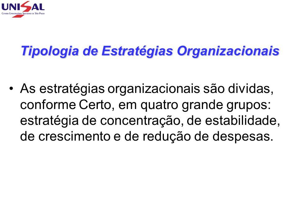 Tipologia de Estratégias Organizacionais As estratégias organizacionais são dividas, conforme Certo, em quatro grande grupos: estratégia de concentração, de estabilidade, de crescimento e de redução de despesas.