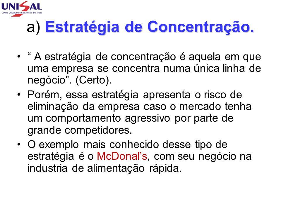 Estratégia de Concentração.a) Estratégia de Concentração.