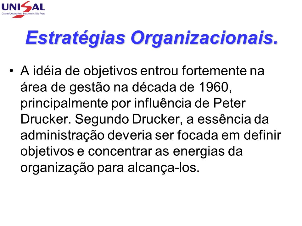 Estratégias Organizacionais.