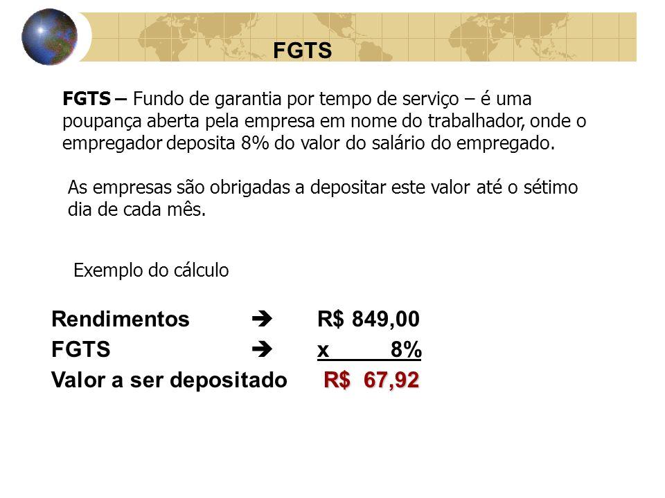 FGTS FGTS – Fundo de garantia por tempo de serviço – é uma poupança aberta pela empresa em nome do trabalhador, onde o empregador deposita 8% do valor