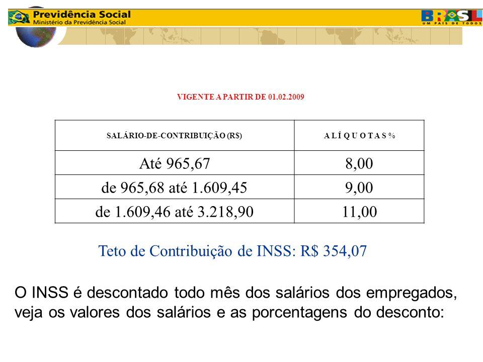 O INSS é descontado todo mês dos salários dos empregados, veja os valores dos salários e as porcentagens do desconto: VIGENTE A PARTIR DE 01.02.2009 S