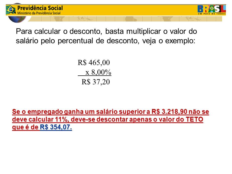 Para calcular o desconto, basta multiplicar o valor do salário pelo percentual de desconto, veja o exemplo: R$ 465,00 x 8,00% R$ 37,20 Se o empregado