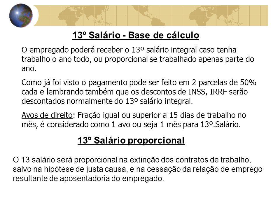 13º Salário – Exemplo simples Exemplo 1: Funcionário: César Santos Salário: R$ 450,00 Meses trabalhado: 6 Veja o cálculo: R$ 450,00 12 = R$ 37,50 R$ 37,50 x 6 meses = 225,00 Exemplo 2: Funcionário:Fernanda Souza Salário: R$ 408,00 Meses trabalhado: 12 Veja o cálculo: R$ 408,00 12 = R$ 34,00 R$ 34,00 x 12 meses = R$ 408,00 Lembre-se que deste valor ainda temos que fazer os descontos.