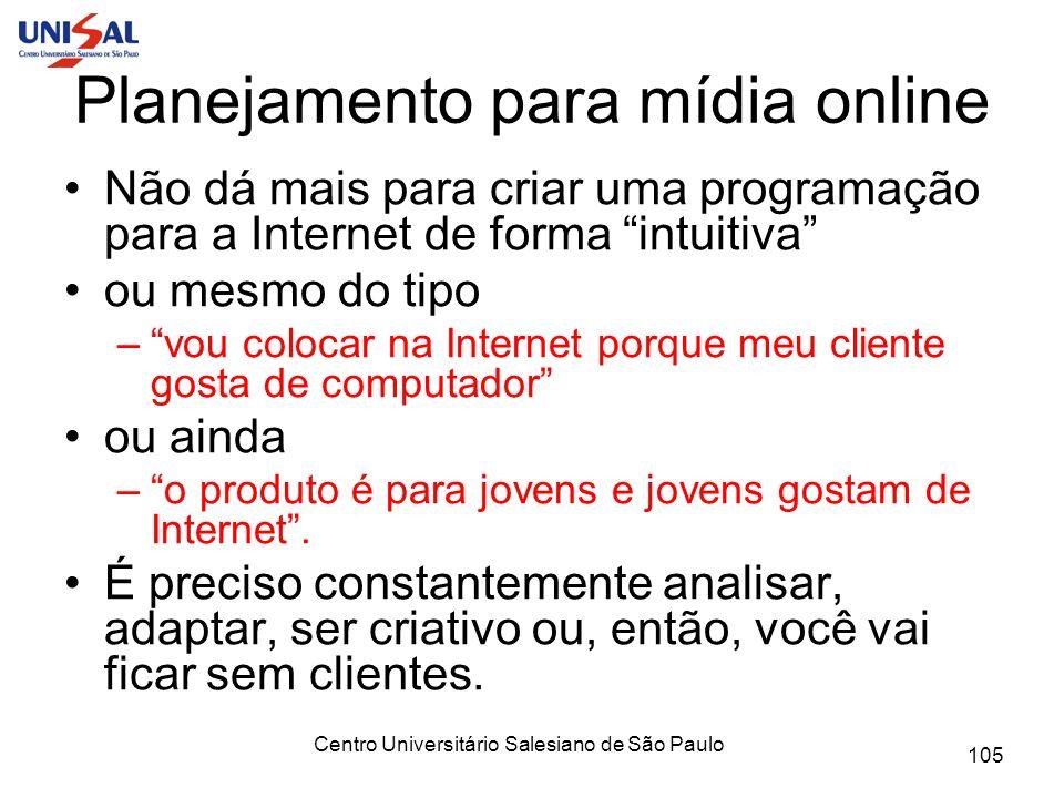 Centro Universitário Salesiano de São Paulo 105 Planejamento para mídia online Não dá mais para criar uma programação para a Internet de forma intuiti