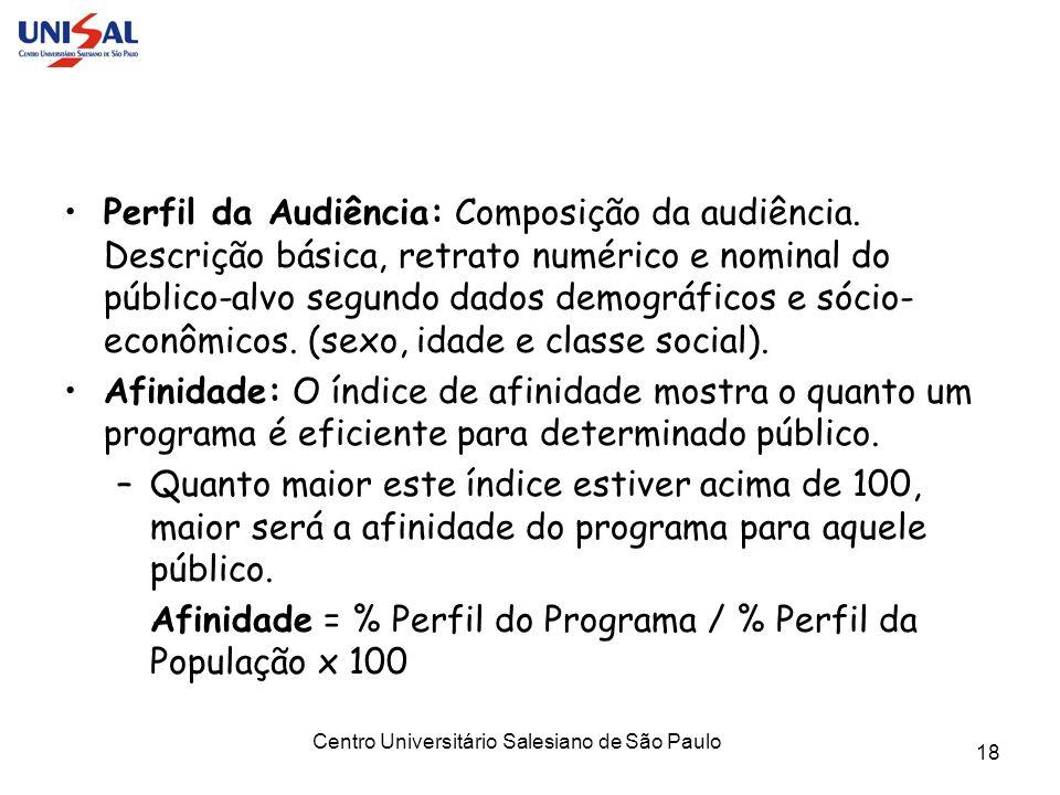 Centro Universitário Salesiano de São Paulo 18 Perfil da Audiência: Composição da audiência. Descrição básica, retrato numérico e nominal do público-a