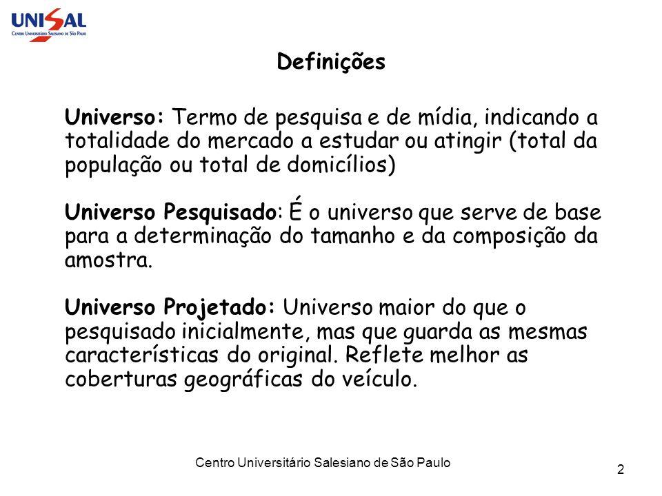 Centro Universitário Salesiano de São Paulo 2 Definições Universo: Termo de pesquisa e de mídia, indicando a totalidade do mercado a estudar ou atingi