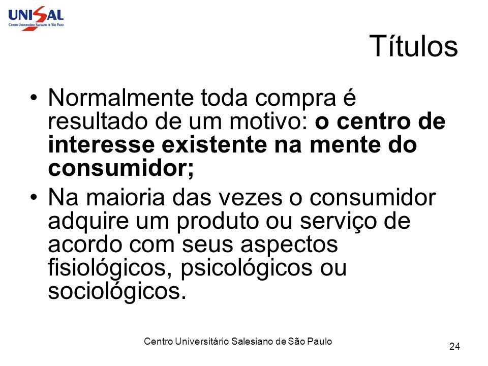Centro Universitário Salesiano de São Paulo 24 Títulos Normalmente toda compra é resultado de um motivo: o centro de interesse existente na mente do c