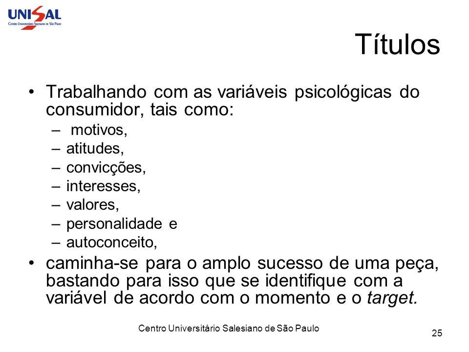 Centro Universitário Salesiano de São Paulo 25 Títulos Trabalhando com as variáveis psicológicas do consumidor, tais como: – motivos, –atitudes, –conv