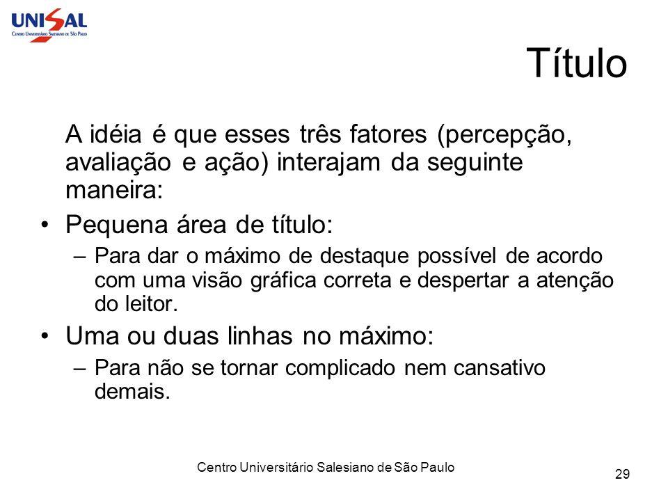 Centro Universitário Salesiano de São Paulo 29 Título A idéia é que esses três fatores (percepção, avaliação e ação) interajam da seguinte maneira: Pe