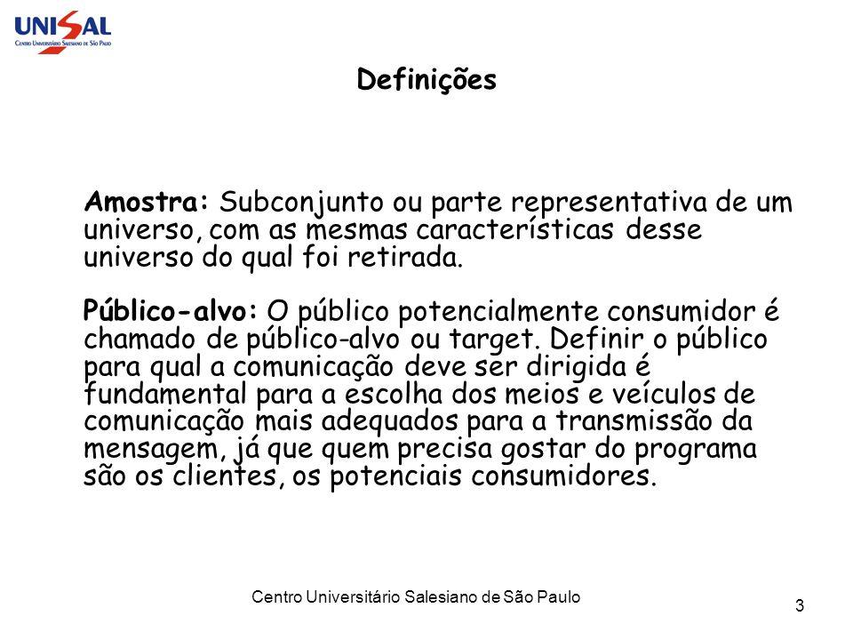 Centro Universitário Salesiano de São Paulo 3 Definições Amostra: Subconjunto ou parte representativa de um universo, com as mesmas características de