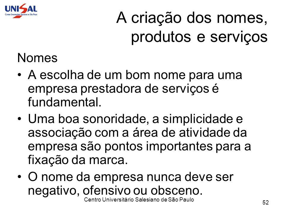 Centro Universitário Salesiano de São Paulo 52 A criação dos nomes, produtos e serviços Nomes A escolha de um bom nome para uma empresa prestadora de