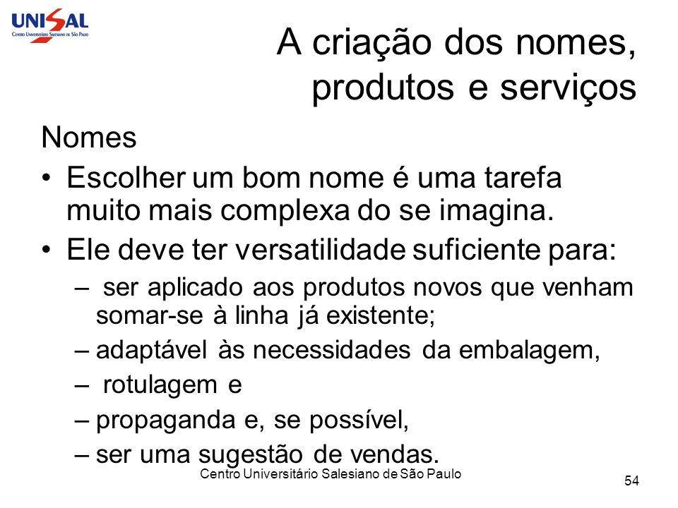 Centro Universitário Salesiano de São Paulo 54 A criação dos nomes, produtos e serviços Nomes Escolher um bom nome é uma tarefa muito mais complexa do