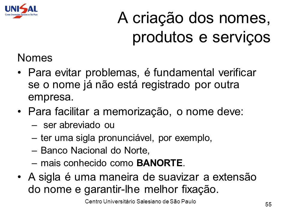 Centro Universitário Salesiano de São Paulo 55 A criação dos nomes, produtos e serviços Nomes Para evitar problemas, é fundamental verificar se o nome