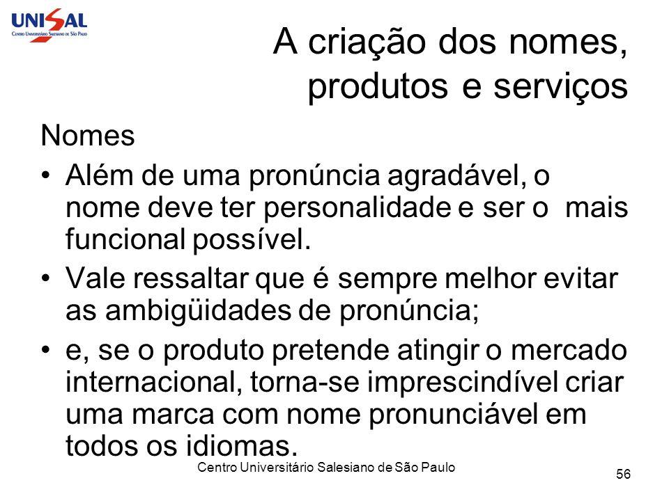 Centro Universitário Salesiano de São Paulo 56 A criação dos nomes, produtos e serviços Nomes Além de uma pronúncia agradável, o nome deve ter persona