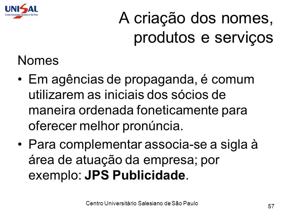 Centro Universitário Salesiano de São Paulo 57 A criação dos nomes, produtos e serviços Nomes Em agências de propaganda, é comum utilizarem as iniciai