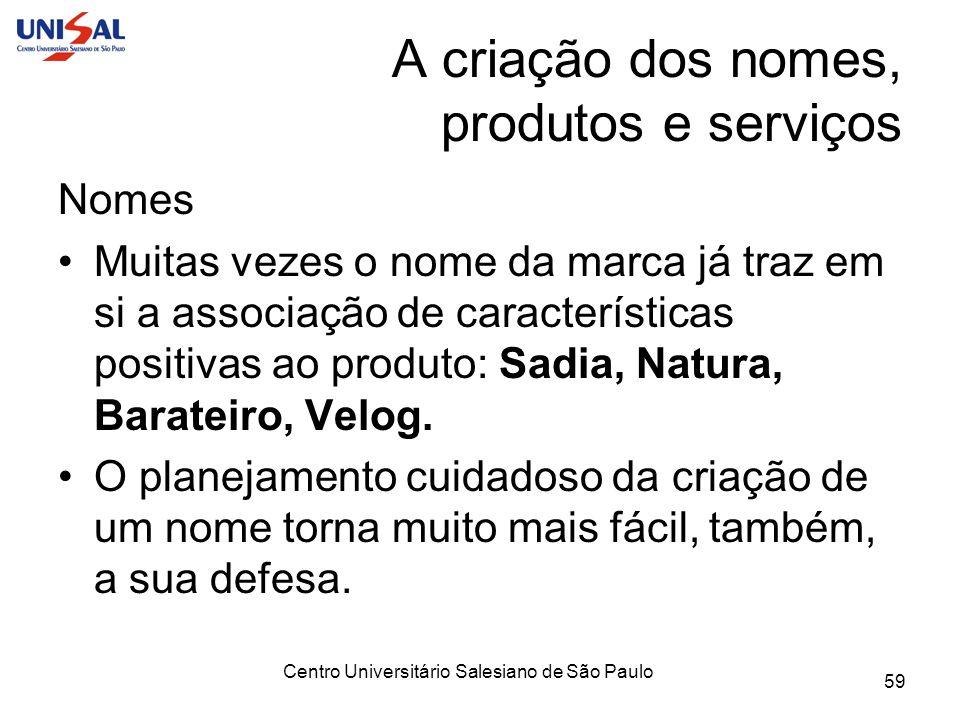 Centro Universitário Salesiano de São Paulo 59 A criação dos nomes, produtos e serviços Nomes Muitas vezes o nome da marca já traz em si a associação