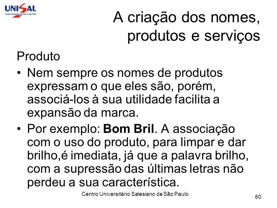 Centro Universitário Salesiano de São Paulo 60 A criação dos nomes, produtos e serviços Produto Nem sempre os nomes de produtos expressam o que eles s
