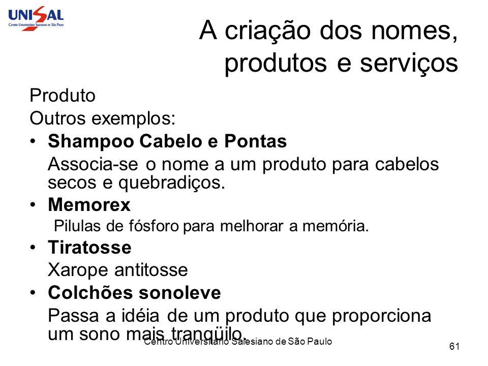 Centro Universitário Salesiano de São Paulo 61 A criação dos nomes, produtos e serviços Produto Outros exemplos: Shampoo Cabelo e Pontas Associa-se o