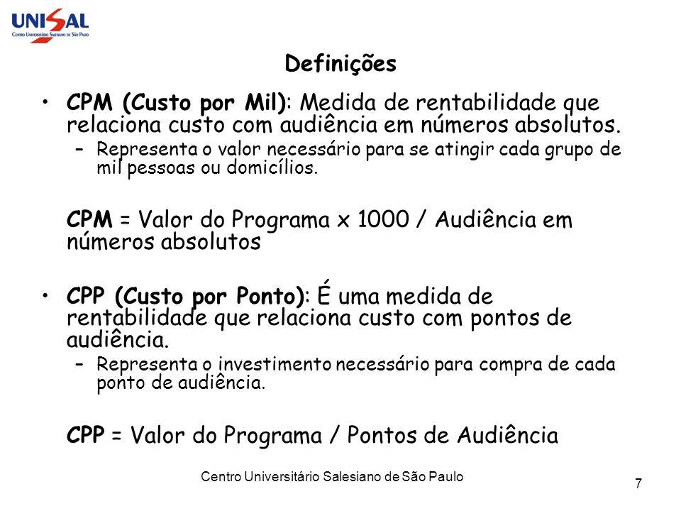 Centro Universitário Salesiano de São Paulo 7 Definições CPM (Custo por Mil): Medida de rentabilidade que relaciona custo com audiência em números abs