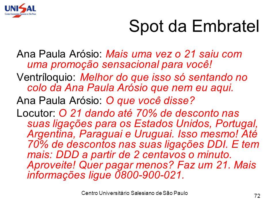 Centro Universitário Salesiano de São Paulo 72 Spot da Embratel Ana Paula Arósio: Mais uma vez o 21 saiu com uma promoção sensacional para você! Ventr