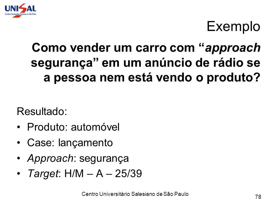 Centro Universitário Salesiano de São Paulo 78 Exemplo Como vender um carro com approach segurança em um anúncio de rádio se a pessoa nem está vendo o