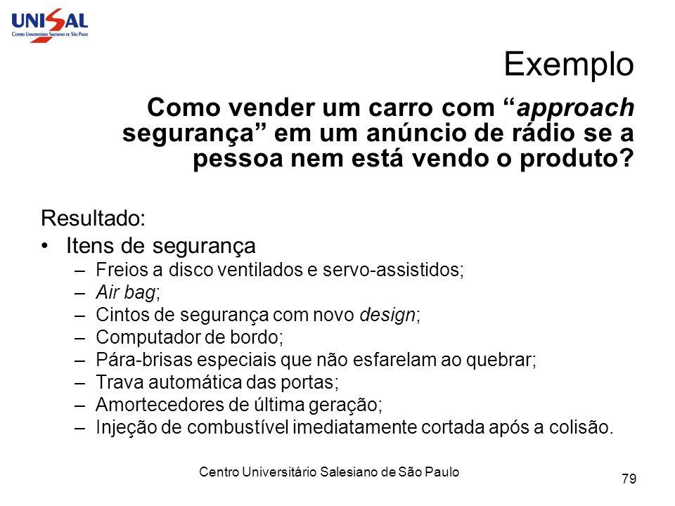 Centro Universitário Salesiano de São Paulo 79 Exemplo Como vender um carro com approach segurança em um anúncio de rádio se a pessoa nem está vendo o