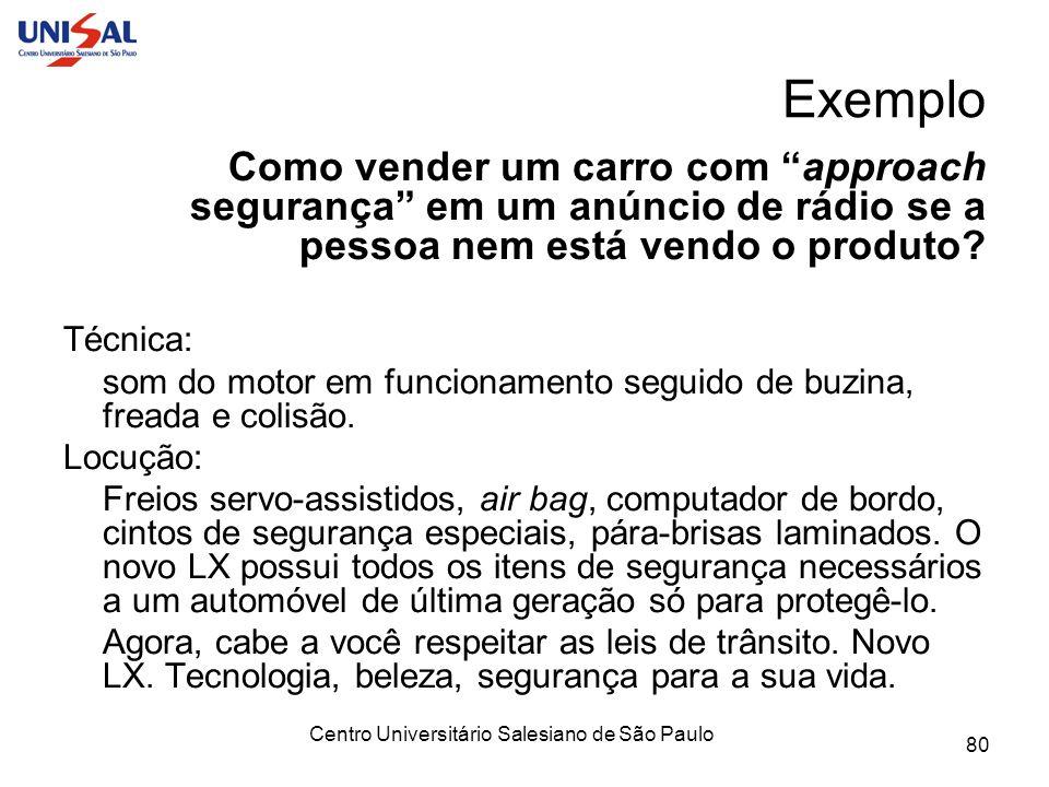 Centro Universitário Salesiano de São Paulo 80 Exemplo Como vender um carro com approach segurança em um anúncio de rádio se a pessoa nem está vendo o