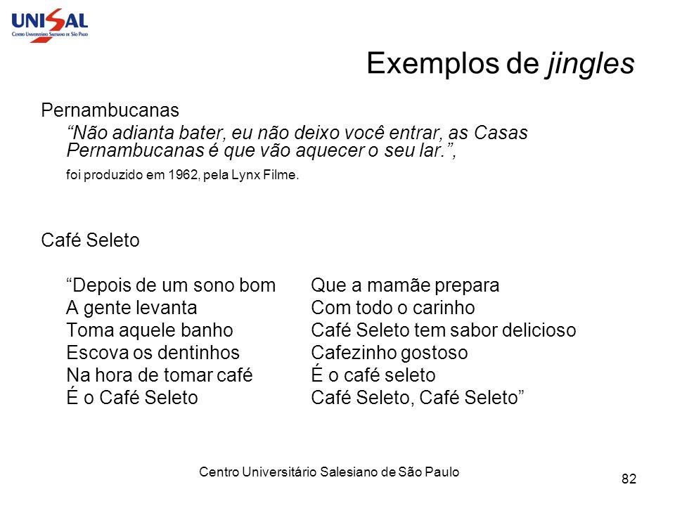 Centro Universitário Salesiano de São Paulo 82 Exemplos de jingles Pernambucanas Não adianta bater, eu não deixo você entrar, as Casas Pernambucanas é