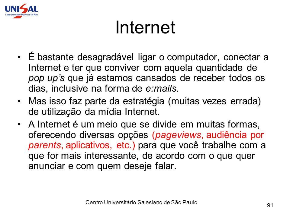 Centro Universitário Salesiano de São Paulo 91 Internet É bastante desagradável ligar o computador, conectar a Internet e ter que conviver com aquela