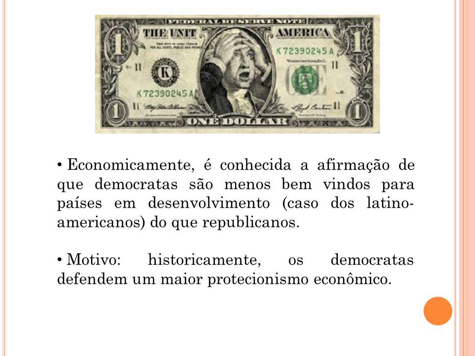 Economicamente, é conhecida a afirmação de que democratas são menos bem vindos para países em desenvolvimento (caso dos latino- americanos) do que rep