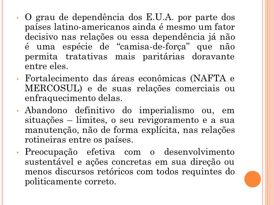 O grau de dependência dos E.U.A. por parte dos países latino-americanos ainda é mesmo um fator decisivo nas relações ou essa dependência já não é uma