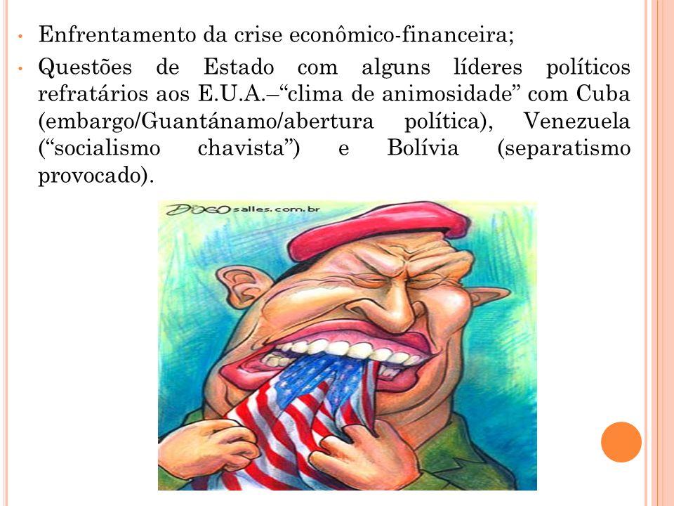Enfrentamento da crise econômico-financeira; Questões de Estado com alguns líderes políticos refratários aos E.U.A.–clima de animosidade com Cuba (emb