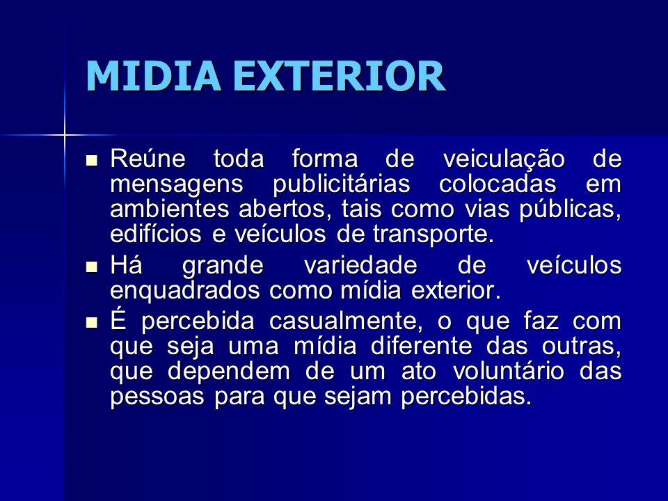 MIDIA EXTERIOR Reúne toda forma de veiculação de mensagens publicitárias colocadas em ambientes abertos, tais como vias públicas, edifícios e veículos