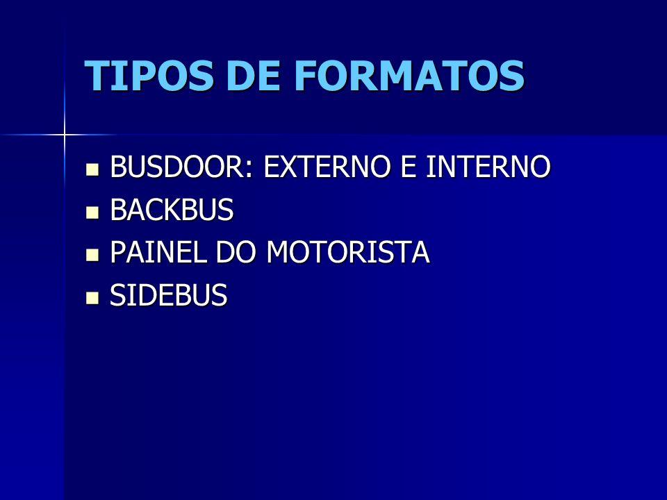 TIPOS DE FORMATOS BUSDOOR: EXTERNO E INTERNO BUSDOOR: EXTERNO E INTERNO BACKBUS BACKBUS PAINEL DO MOTORISTA PAINEL DO MOTORISTA SIDEBUS SIDEBUS
