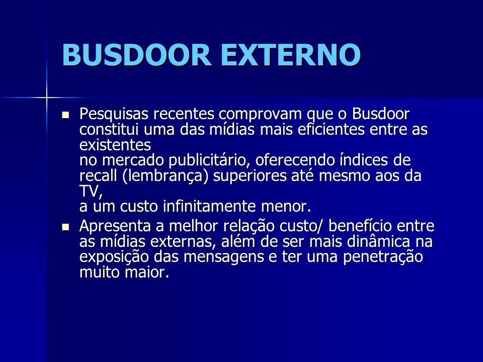 BUSDOOR EXTERNO Pesquisas recentes comprovam que o Busdoor constitui uma das mídias mais eficientes entre as existentes no mercado publicitário, ofere