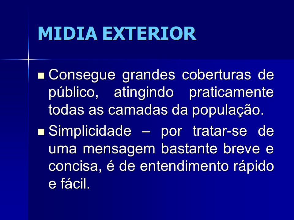 MIDIA EXTERIOR Consegue grandes coberturas de público, atingindo praticamente todas as camadas da população. Consegue grandes coberturas de público, a