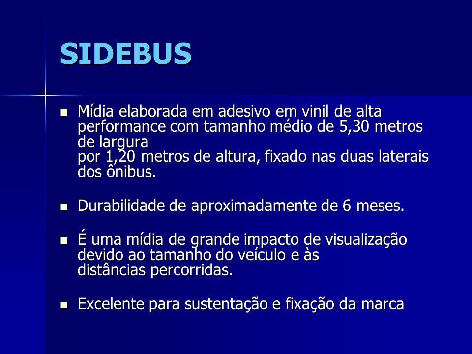 SIDEBUS Mídia elaborada em adesivo em vinil de alta performance com tamanho médio de 5,30 metros de largura por 1,20 metros de altura, fixado nas duas