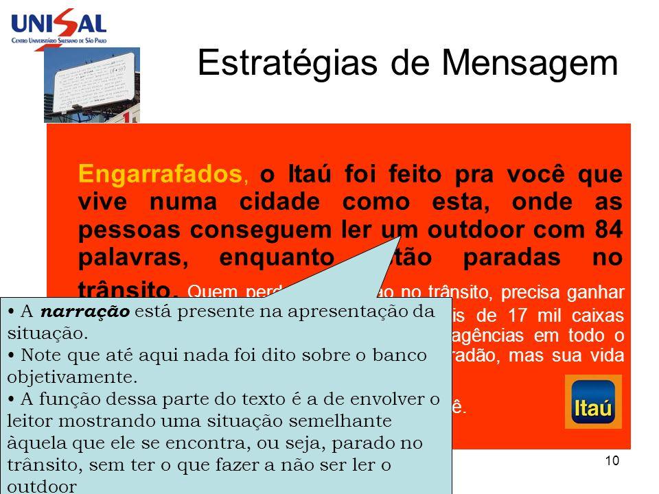 Publicidade e Propaganda10 Estratégias de Mensagem Engarrafados, o Itaú foi feito pra você que vive numa cidade como esta, onde as pessoas conseguem l